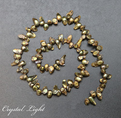 Shell and Pearl Beads: Green/Bronze Keshi Pearl Beads