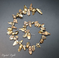 Shell and Pearl Beads: Brass Keshi Pearl Beads