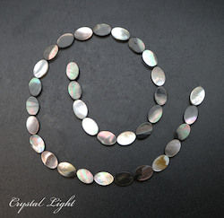Shell and Pearl Beads: Iridescent Shell Oval Beads